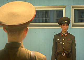 Border guards at Panmunjam  by Ron Gluckman in North Korea